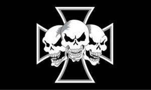 Iron Cross 3 Skulls 5'x3'